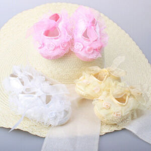 Baby Shower Infant Girl Kids Christening  White Satin Lace Bow Shoes 0-12m