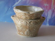 Med Lace White With Seirra Brown African Violet Ceramic Pot/Planter