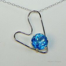 9mm Round Half Heart Genuine Swiss Blue Quartz Sterling Silver Necklace 5.9cts