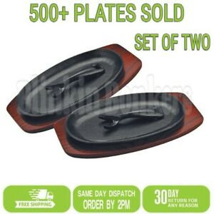 2 HEAVY DUTY STEAK OVEN DISH SIZZLE SIZZLING SIZZLER SERVING PLATE WOODEN BASE