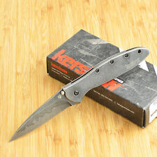 Kershaw Leek Blackwash Composite D2 14C28N Blade Framelock Knife 1660CBBW