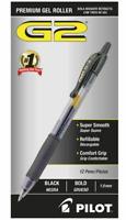 Pilot® G-2™ Retractable Gel Pens, Bold Point, 1.0 mm, Clear Barrels, Black Ink