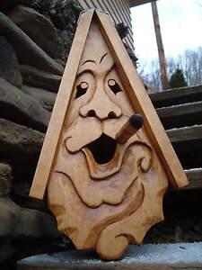 "Unique Cigar Bird House Hand Carved Rustic Cigar Face Wood Spirit 16"""