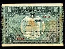 Spain:P-S565,100 Pesetas,1937 * Civil War * BILBAO *