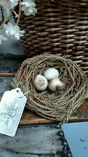 "NWT Ragon 5"" Rustic 3 Bird EGGS in NEST Twig Vine Moss Decor Ornament Crafting"