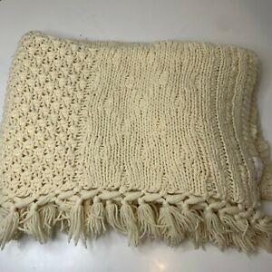 chunky knit crochet blanket throw white cream tassels  49x38