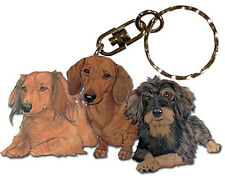 Dachshund Wooden Dog Breed Keychain Key Ring