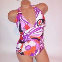 Sonoma Tankini Swim Top Size 8 Purple Pink Red White Halter Removable