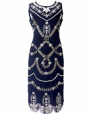 Blue Vintage 1920s Flapper Gatsby Downton Abbey Fringe Beaded Dress Size 8-24