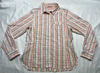 ✨⭐️Columbia Omni-Shade Peach Plaid Button Shirt Roll Tab Sleeves Vented Sz M⭐️✨