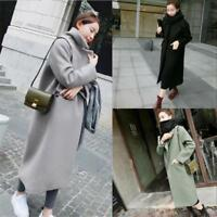 Korean Women Winter Casual Loose Wool Lapel Long Outwear Coat Trench Slim Parka