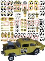 1:64, 1:43, 1:32,1:24  eyeballs water slide decals for Hot Wheels, slot car