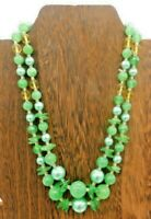 """Vintage Japan Multi Strand Green Yellow Round Disk Plastic Lucite 18"""" Necklace"""