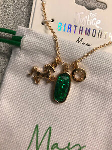 Justice Childrens Jewelry Necklace May Emerald Lot Of 2 Green