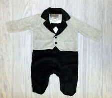 Baby boy Clothes Tuxedo Baby Grow All in one Romper Rock a Bye Baby velour 0-9 m