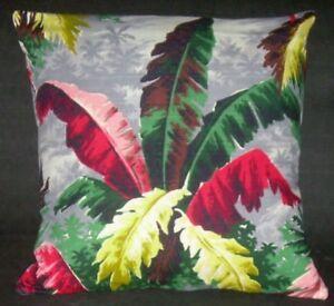 "Tropical Barkcloth Pillow Cover  ""Tropical  Palms"" (20"") 1940's Vintage"