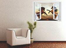 Wandtattoo Fenster 3D Optik Wandsticker Aufkleber Deko Bild - Pferde