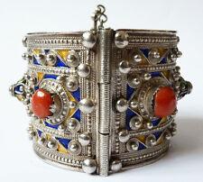Bracelet ethnique ARGENT + émail Maghreb ancien Algérie 124 g silver bracelet
