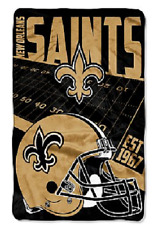 NWT-NFL-NEW ORLEAN SAINTS RASCHEL SUPER SOFT THROW/ BLANKET OVERSIZE 62 X 90
