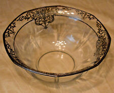 Vtg GLASS Console Bowl Sterling Silver Overlay Scroll Flower Design Octagon Top