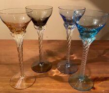 Set Of 4 Liqueur Cordial Glasses Stemware Elegant 4 Colors
