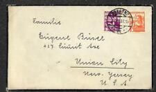 BREGENZ AUSTRIA TO UNION CITY NEW JERSEY USA MOURNING COVER 1937