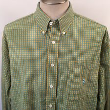 Cinch Up Mens Shirt Long Sleeve Check Blue Yellow Size XL Button Down Up Cotton