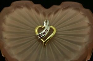 10K YELLOW & WHITE GOLD RUBY & DIAMOND OPEN HEART PENDANT CHARM #X10-2282
