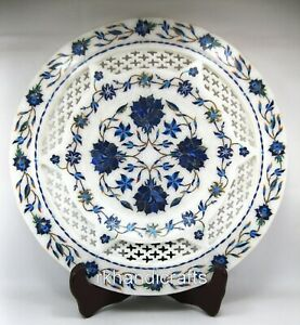 12 Inches Marble Decorative Plate Intricate Work Office Plate with Royal Art