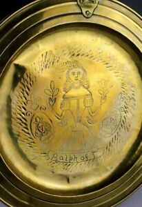 *SC*RARE SCOTTISH BAROQUE BAPTISMAL BRASS DISH, 18TH. CENTURY