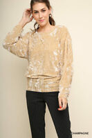 Umgee Champagne Crushed Velvet Round Neck Top Long Sleeves S M L