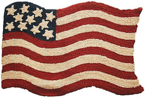 American Shop - Teppichvorleger Stars & Stripes, 90 x 60 cm Handgeknüpft