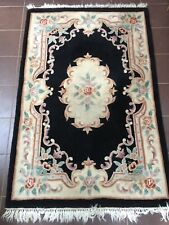 "VINTAGE LARGE RECTANGULAR BLACK WOOL AUMBUSSON STYLE  RUG  48"" X 73"""