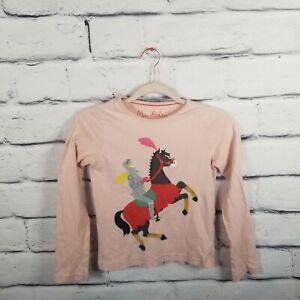 Mini Boden Girls Sz 9-10 Pink Knight Long Sleeve Shirt