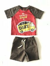 Circo 2 Piece Outfit Red/Brown Shirt And Brown Shorts Infant Size 18 M