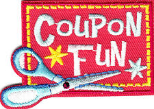 """""""COUPON FUN"""" IRON ON EMBROIDERED APPLIQUE PATCH /Hobby, Money Saver, Words"""