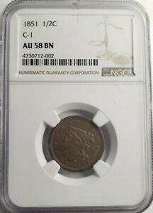 1851 1/2c C-1 Braided Hair Half Cent NGC AU58 BN -
