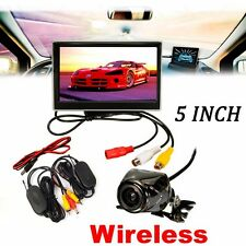"""170° Wireless License Back Up Reverse Car Rear View Camera 5"""" LCD Monitor Kit"""