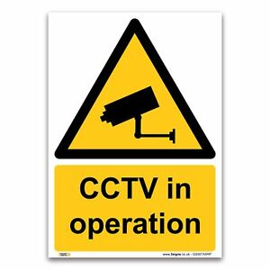 CCTV in operation Sign - 1mm Rigid Plastic Sign - Warning Construction Security