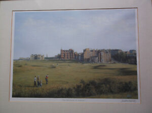 Framed Jonathan Mitchell signed golfing print of 'The Old Course, St. Andrews