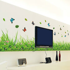Green Grass Baseboard Spring Butterfly Flower Skirting Wall Stickers Mural Decal