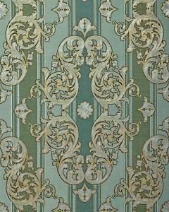 EDEM 580-35 Barock-Tapete Textiloptik Metallic Effekt kiefern-grün gold 5,33 m2