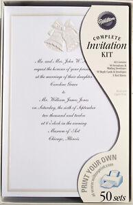 """50 Wilton White Wedding Invitation Kits """"WEDDING BELLS""""  Print Your Own Save"""