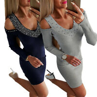 Women Cold Shoulder Knitted Stretch Long Sleeve Bodycon Slim Party Mini Dresses