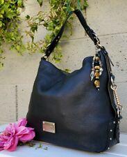 Michael Kors Big Valley BLACK studded Leather shoulder tote Purse hobo handbag