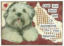 ACEO ATC Art Collage Print Shaggy Dog Puppy Terrier God Apologize Relatives