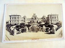 """OLD ALBUMEN/CABINET CARD: MARSEILLE~PALAIS LONGCHAMP~""""RIVES"""" STAMP~ANIMATED"""