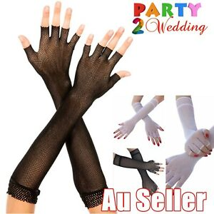 Long Ladies Fishnet Gloves Fingerless Sexy Party Dance 70s 80s Womens Glove