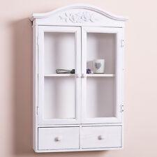 White Glazed Wall Display Cabinet Shabby Storage Cupboard Chic Bathroom Decor