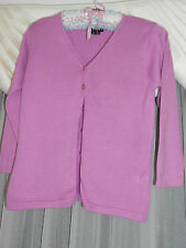 Ladies FWH mauve short cropped cardigan V neck Size S long sleeves button up